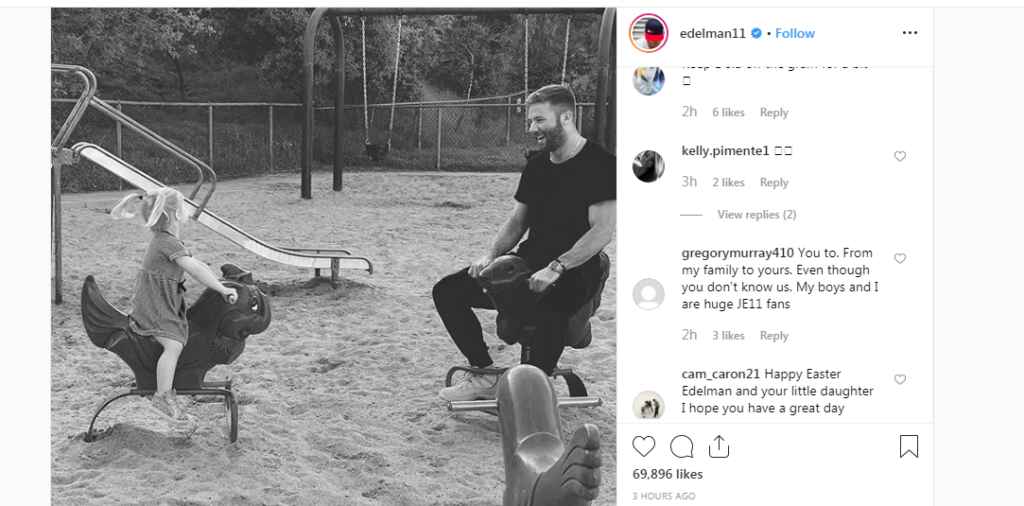 Julian Edelman And His Daughter Wishes You A Happy Easter